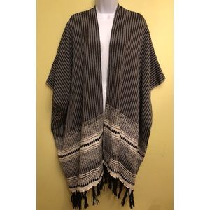 Ann Taylor LOFT black and white tasseled cardigan